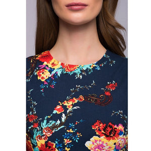 Women Knee-length Long Sleeve Floral Print Dress - The Land of Florals