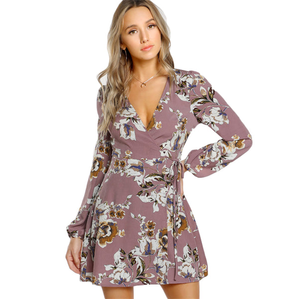 Womens Lilac Floral Wrap Dress