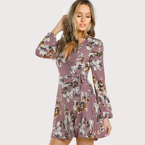 Womens Lilac Floral Wrap Dress - The Land of Florals