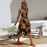 Backless Womens Floral Fun Print Summer Beach Sundress - The Land of Florals