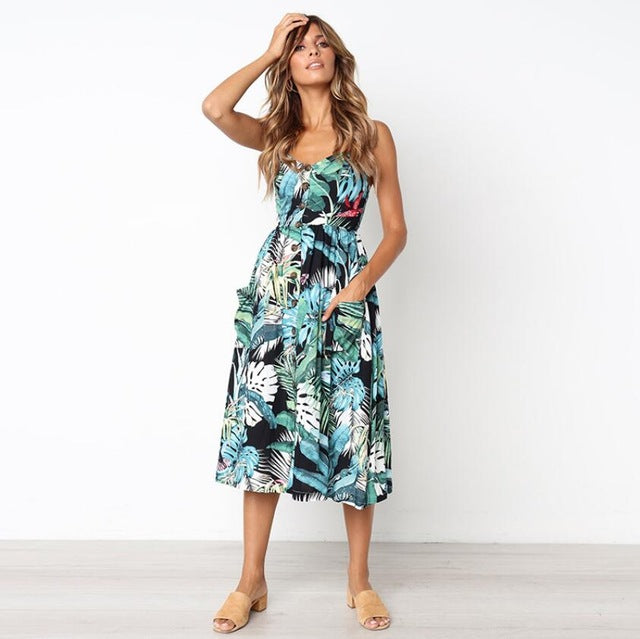Backless Womens Floral Fun Print Summer Beach Sundress