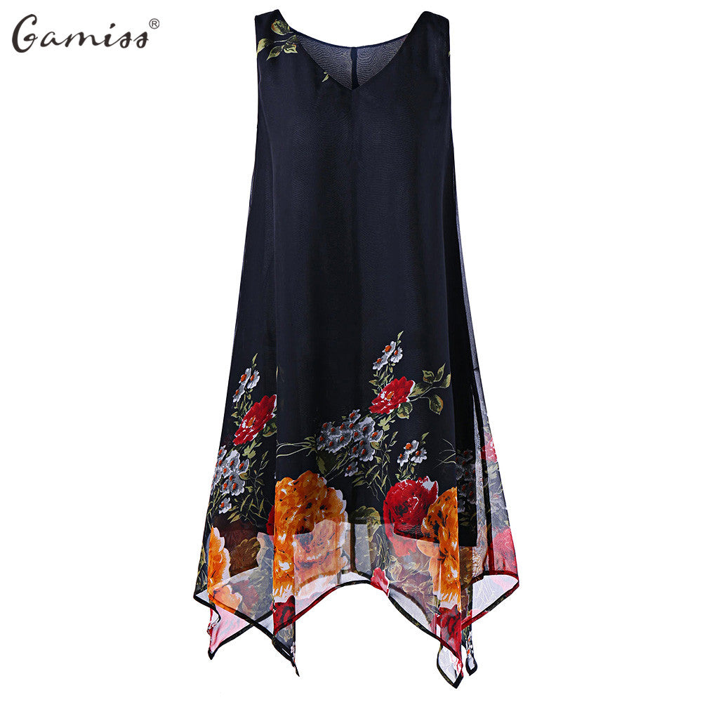 Women's Plus Size V Neck Floral Chiffon Dress