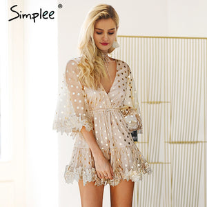 Sexy Gold Sequinned Flare Sleeved Mini Party Dress - The Land of Florals
