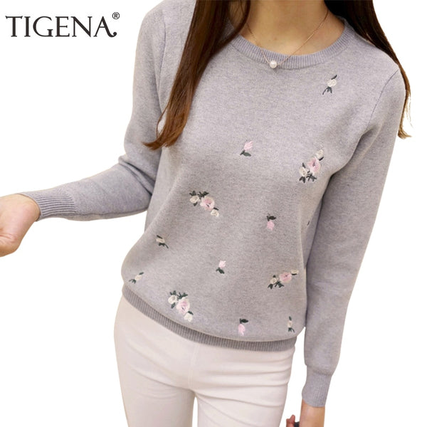 Embroidery Floral Knitted Pullover Sweater