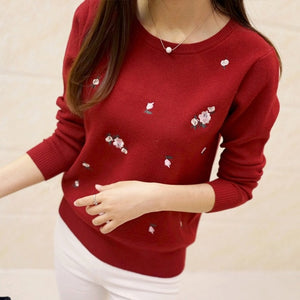 Embroidery Floral Knitted Pullover Sweater - The Land of Florals