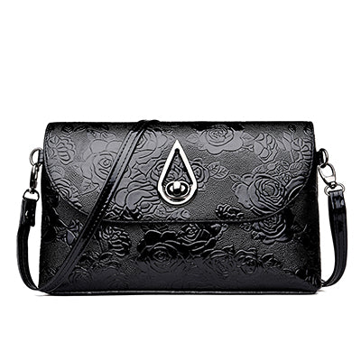 Womens Luxury PU Leather Rose Embroidered Handbag