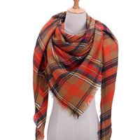 Womens plaid warm cashmere luxury shawl