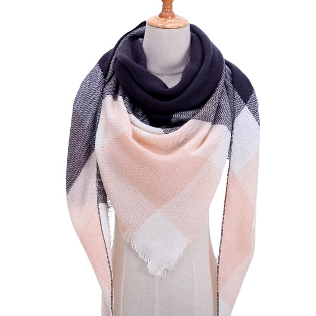 Womens plaid warm cashmere luxury shawl - The Land of Florals