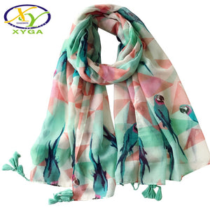 Parrot Bird Fashion Tassels Scarf - The Land of Florals
