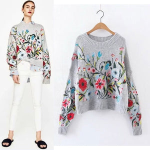 Womens Floral Pullover Sweater - The Land of Florals