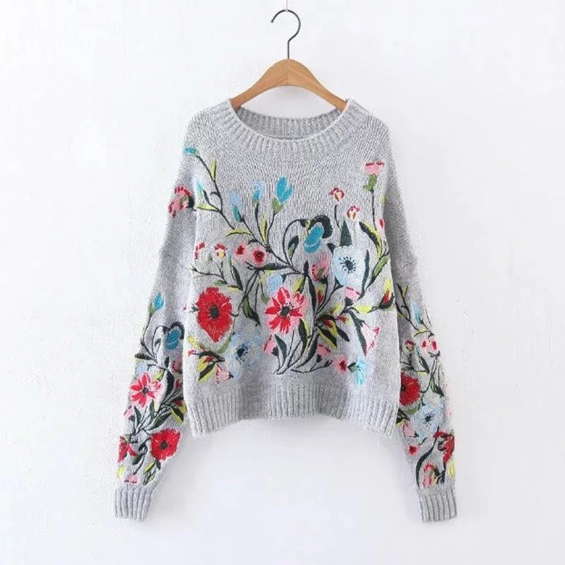 Womens Floral Pullover Sweater