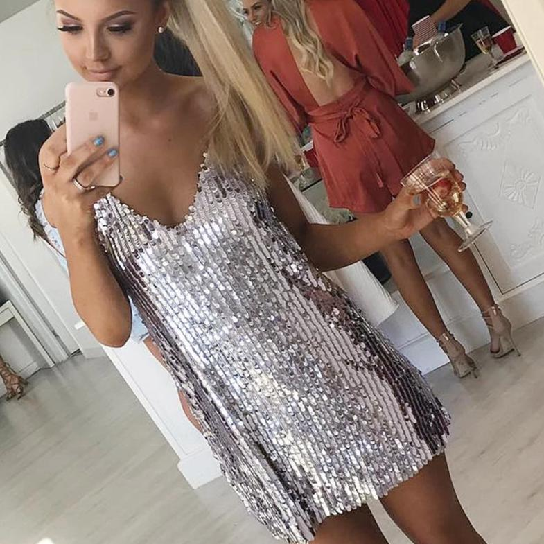 Silver Sequined Backless Mini Party Dress - The Land of Florals