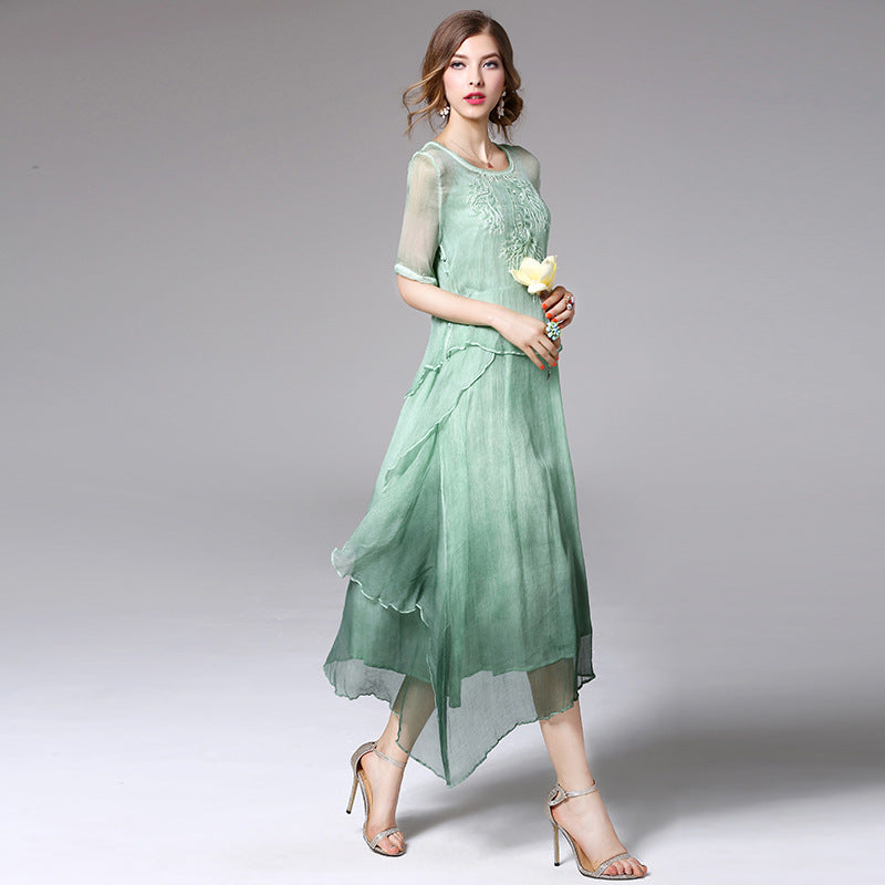 Stunning Womens High Quality Vintage Robe Silk Midi Dress - The Land of Florals