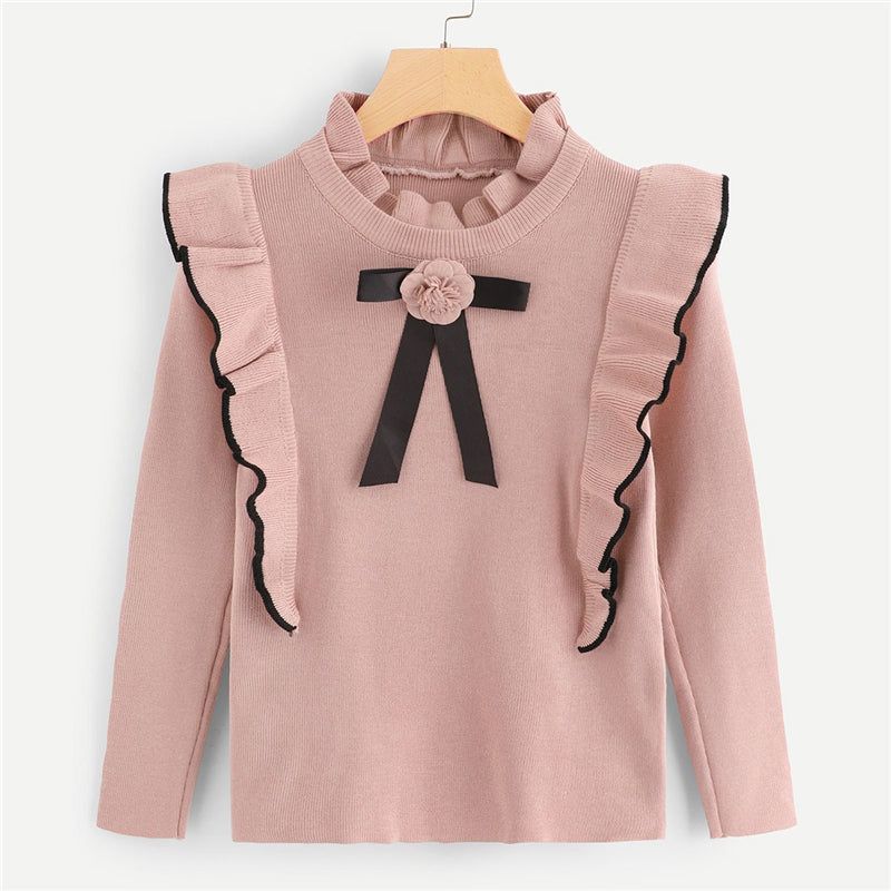 Pink Ruffle Trim Floral Long Sleeve Sweater