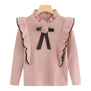 Pink Ruffle Trim Floral Long Sleeve Sweater - The Land of Florals