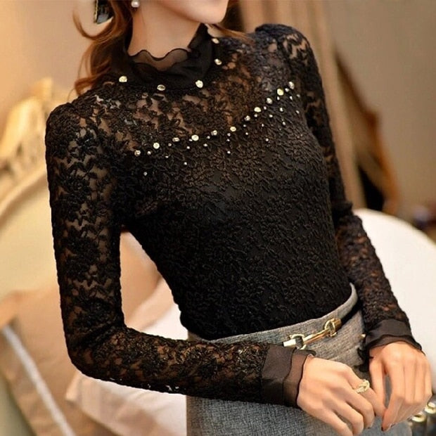 Beaded Ruffled Collar Blouse
