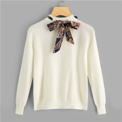 Sweater jumper with bow tie collar - The Land of Florals