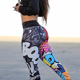 Womens Sports Comic Print Yoga Pants - The Land of Florals