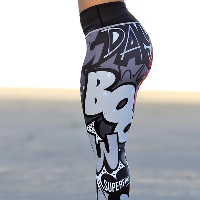 Womens Sports Comic Print Yoga Pants