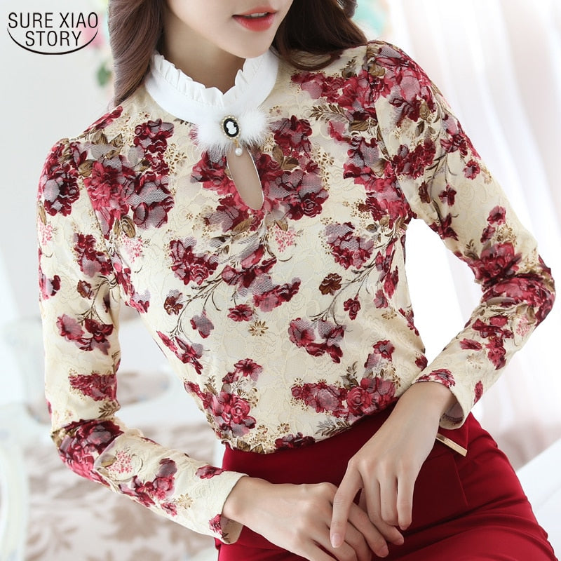 Floral Crochet Long Sleeve Lace Blouse
