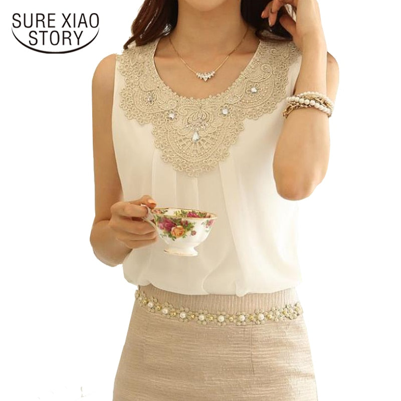 Diamond Collar Lace Chiffon Top