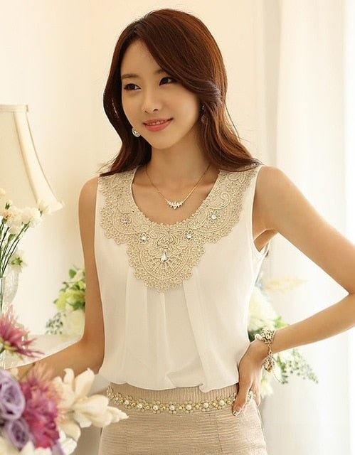 Diamond Collar Lace Chiffon Top - The Land of Florals
