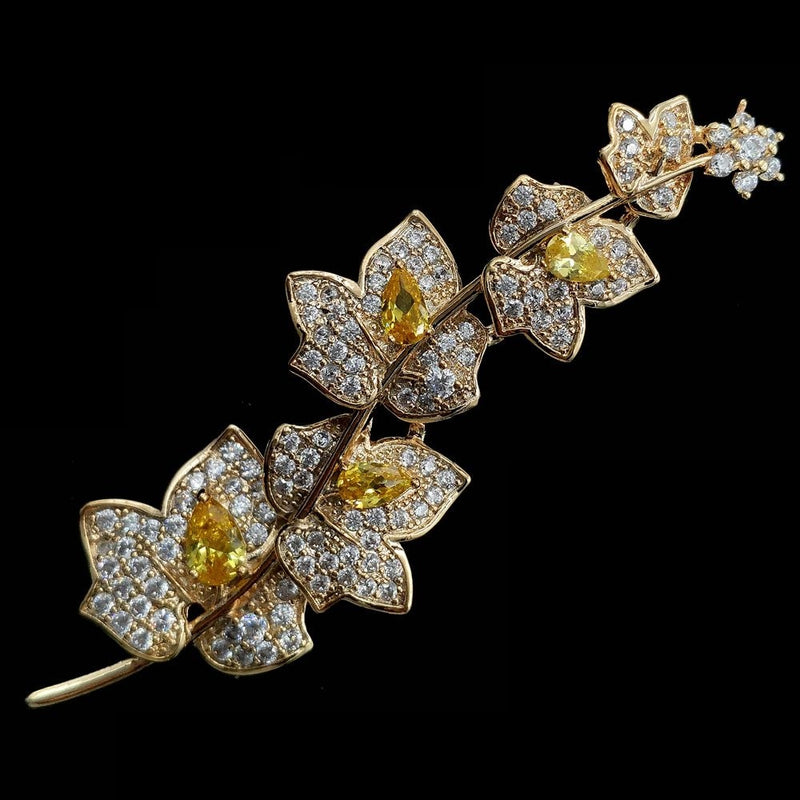 Floral Diamante Bridal Golden Toned Brooch