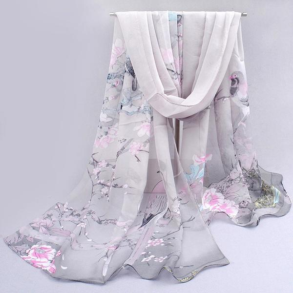 Floral Silken Chiffon Shawl - The Land of Florals