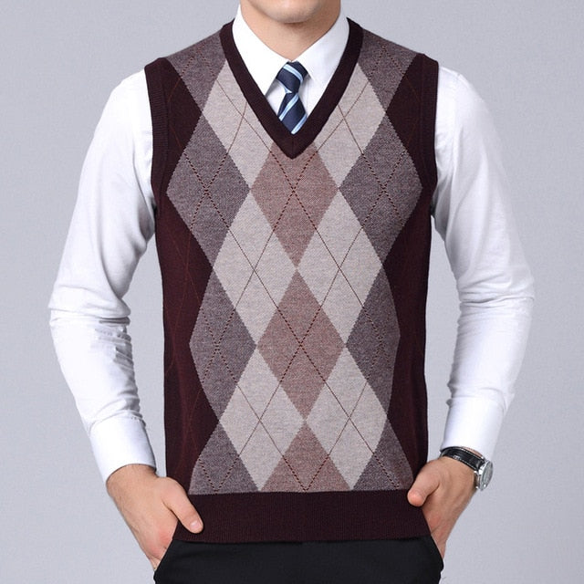 Mens Plaid Slim Fit Pullover Jumper