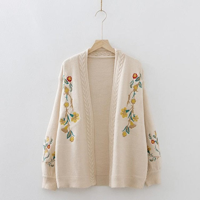 New Womens Floral Embroidered Cardigan