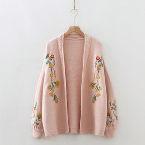 New Womens Floral Embroidered Cardigan - The Land of Florals