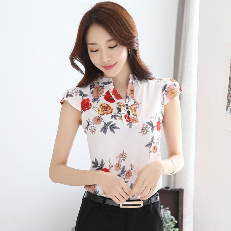 Peonies Print Chiffon Blouse - The Land of Florals