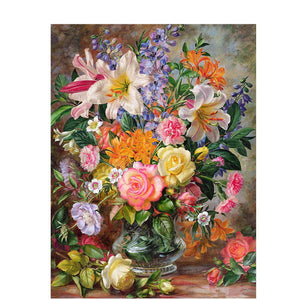 Elegant Wall Art Framed Canvas Oil Painting DIY Kit - The Land of Florals