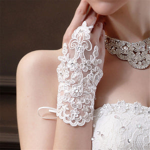 Womens Fingerless Rhinestone Lace Gloves - The Land of Florals
