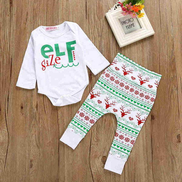 "Christmas""Elf"" Size  Romper +Pants +Hat Outfit"
