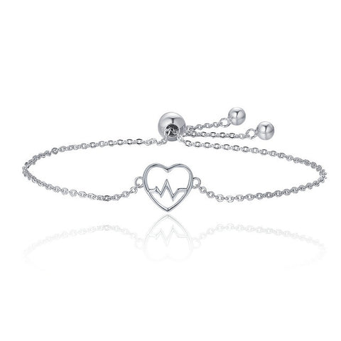 925 Sterling Silver ECG Of Love & Sweetheart Heart Bracelet