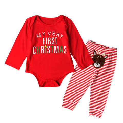 1st Christmas Long Sleeve Tops Romper + Long Pants