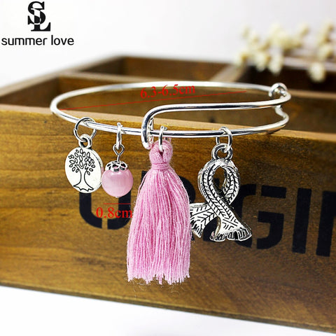Silk Ribbon Cancer Awareness Charm Bracelet