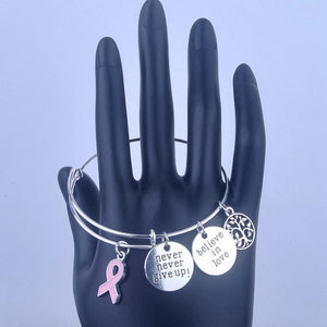 Never Give Up Breast Cancer Awareness Bracelets