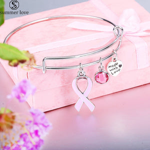 Ribbon Breast Cancer Pink Birthstone Bracelet