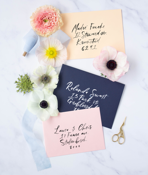 Brush Calligraphy Envelopes - Susan Brand Designs Cape Town Paarl