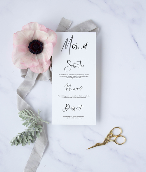 Semi-Custom Brush Calligraphy Menu - Susan Brand Designs Cape Town Paarl