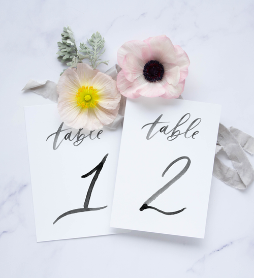 Brush Calligraphy Table Numbers