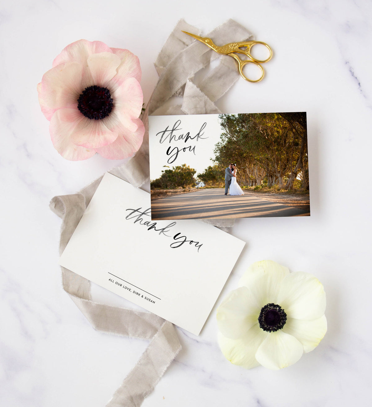 Semi-custom wedding thank you cards