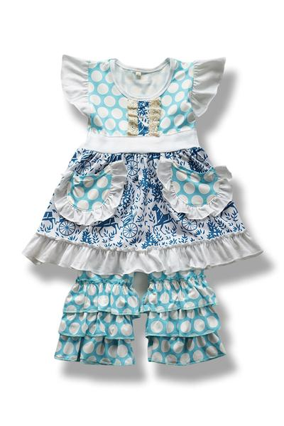 Blue And White Polka Dot and Lace Outfit