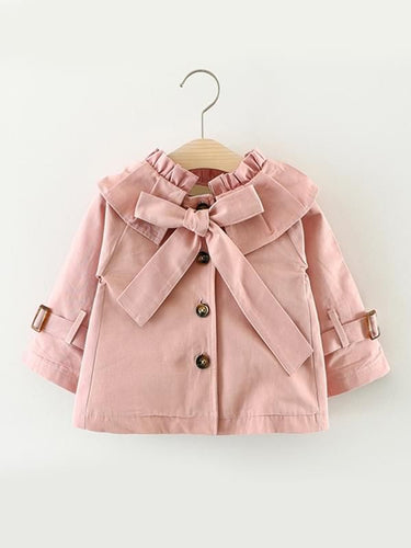 Buttoned Down Long-sleeve Bow-knot Coat