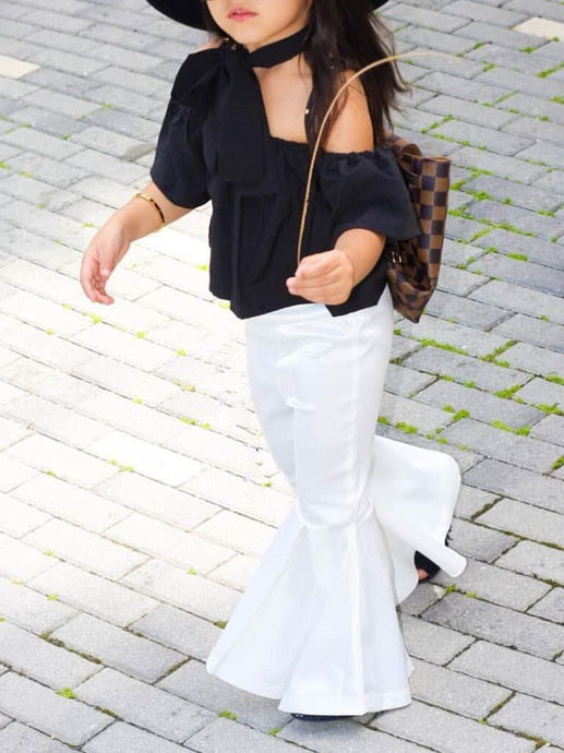 Off shoulder top with adorabLe white flare pants and matching headband