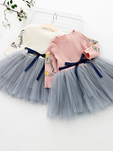 Super Adorable Long Sleeve with Floral Design and Tulle Skirt