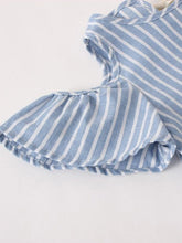 Load image into Gallery viewer, Blue and white striped peek a boo shoulders mom and me dress