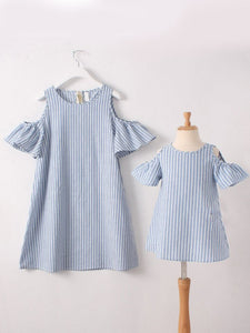 Blue and white striped peek a boo shoulders mom and me dress